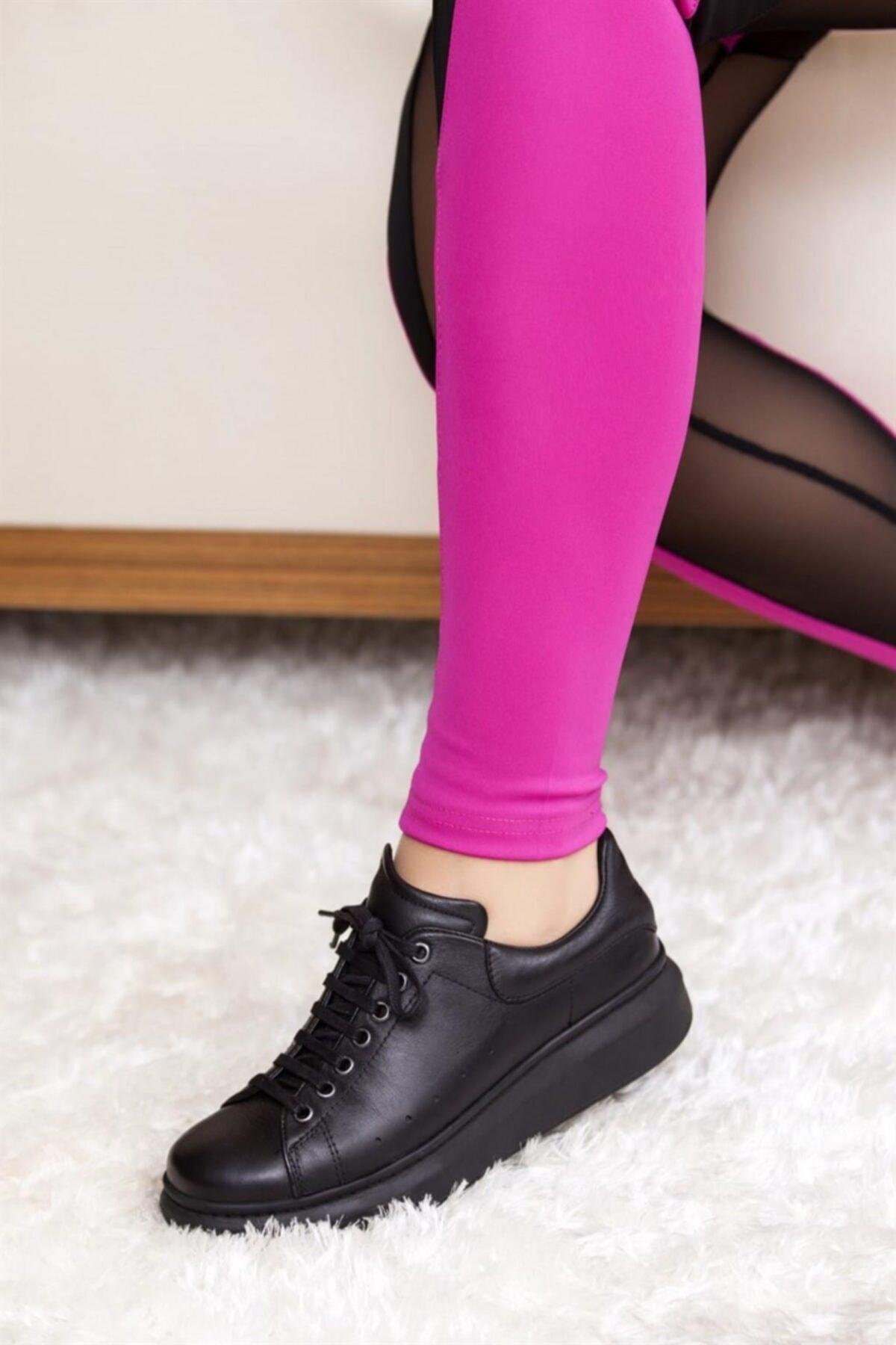 Hakiki Deri Siyah Siyah Kadın Deri Sneaker Trc-0690