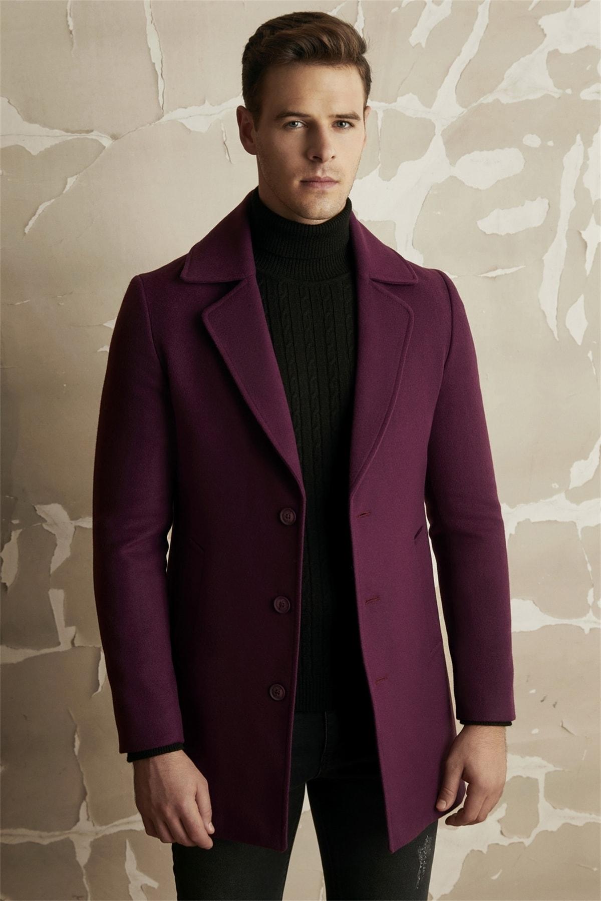 Erkek Mor Slim Fit Klasik Palto Plt 063