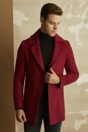 تصویر از Erkek Bordo Slim Fit Klasik Palto Plt 063