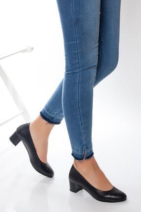 Deripabuc Hakiki Deri Siyah Kadın Topuklu Deri Ayakkabı Shn-0057 0