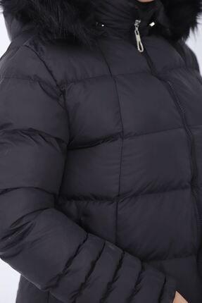kombinal Kadın Siyah Önden Fermuar Detaylı Çıkarılabilir Kapüşonlu Şişme Mont 4