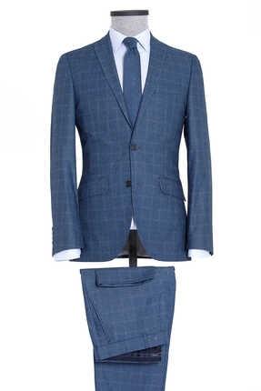 Lacivert Kareli Slim Fit Takım Elbise 33181020B013_G23