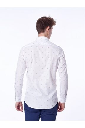 Dufy Beyaz Bej Kare Desenli Ince Dokuma Erkek Gömlek - Slım Fıt 3