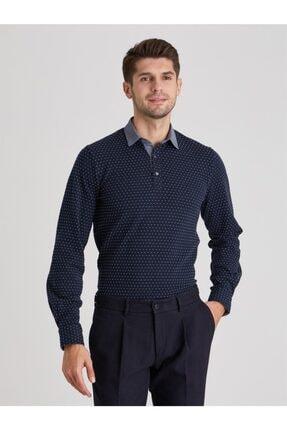 Dufy Erkek Lacivert Polo Yaka Baskılı  Sweatshirt 0