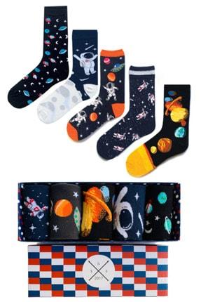 Socks Stations Unisex Renkli 5'li Uzay Ve Astronot Renkli Desenli Çorap Kutusu 0