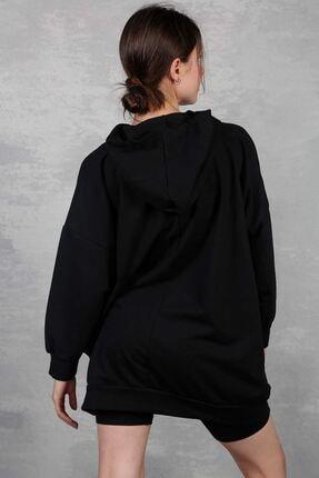 Lena Butik Kadın Siyah Basic Oversize Sweat 2