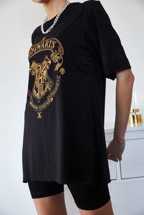Xena Kadın Siyah Baskılı Yırtmaçlı Boyfriend T-Shirt 1KZK1-11144-34 4