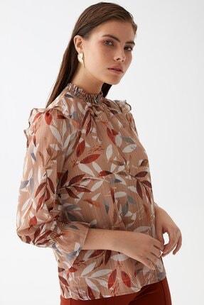 Chima Kadın Taba Yaprak Desenli Bluz K21BL043 0