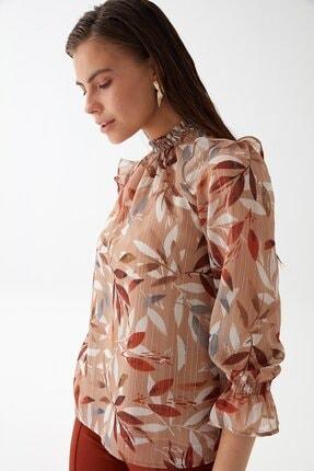 Chima Kadın Taba Yaprak Desenli Bluz K21BL043 2