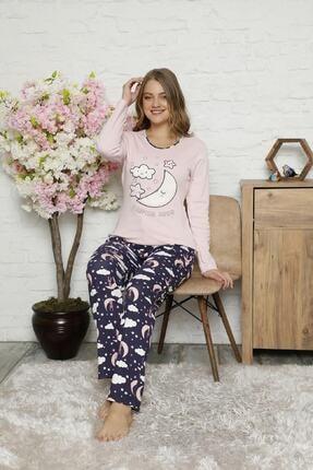 Manolya Kadın Pembe Kışlık Pamuklu Interlok Pijama Takımı 0