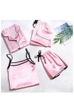 Pembishomewear Kadın Siyah Pembe Beyaz Biyeli  Pink 5 Li Saten Pijama Seti 0