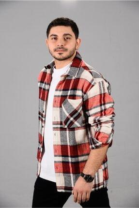 E&E Design Collection Erkek Kırmızı Ekoseli Oversize Oduncu Gömleği 0
