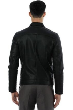 Pierre Cardin Erkek Siyah Fermuarlı Motorcu Deri Ceket- 1