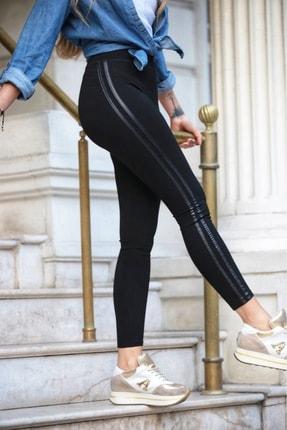 Grenj Fashion Siyah Yanı Iki Deri Şeritli Yüksek Bel Toparlayıcı Tayt 0