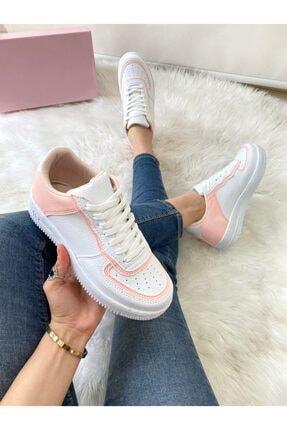 ELSESHOES Kadın Pudra Beyaz Sneaker 1