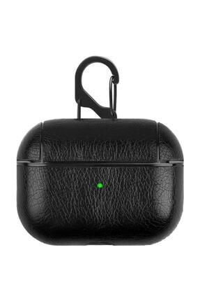 TahTicMer Apple Airpods Pro Kulaklık Koruma Deri Kılıf Siyah 0