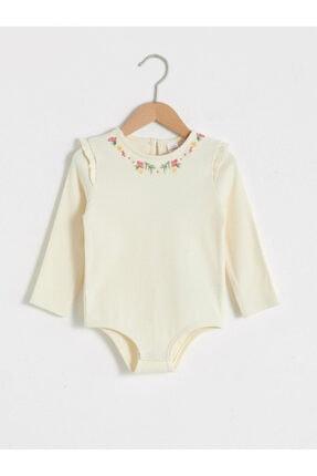 LC Waikiki Kız Bebek Krem Çıtçıtlı Body 0