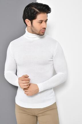 Tena Moda Erkek Beyaz Tam Balıkçı Yaka Basic Triko Kazak 0