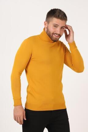 Tena Moda Erkek Hardal Tam Balıkçı Yaka Basic Triko Kazak 0