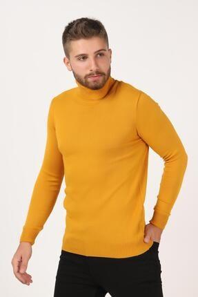 Tena Moda Erkek Hardal Tam Balıkçı Yaka Basic Triko Kazak 3