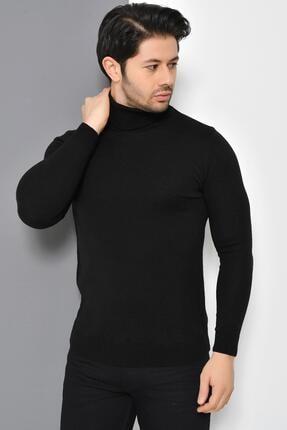 Tena Moda Erkek Siyah Tam Balıkçı Yaka Basic Triko Kazak 0