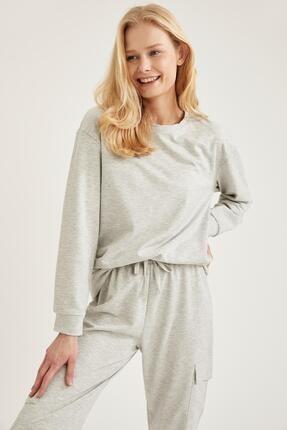 Defacto Kadın Gri Relax Fit Sweatshirt 0
