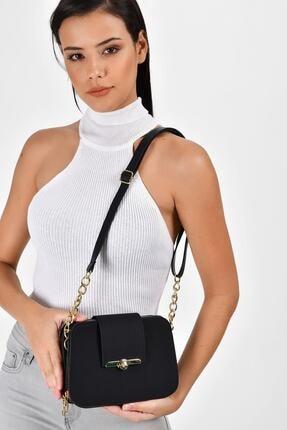 Bagzone Kadın  Siyah Yarı Zincir Askılı Kilit Detaylı Omuz Çantası 3