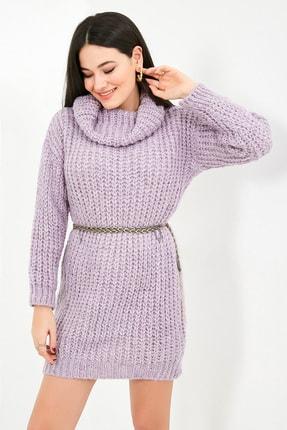 Sateen Kadın Lila Balıkçı Yaka Örme Triko Elbise  STN503KTR133 1