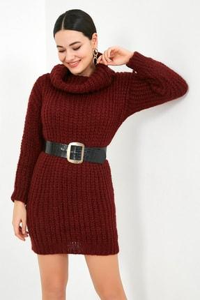 Sateen Kadın Bordo Balıkçı Yaka Örme Triko Elbise  STN503KTR133 1