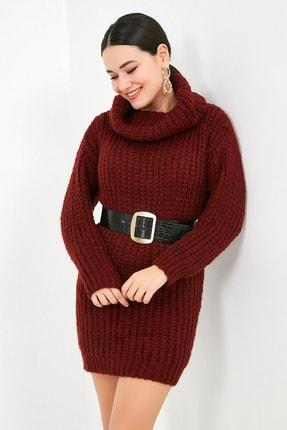 Sateen Kadın Bordo Balıkçı Yaka Örme Triko Elbise  STN503KTR133 3
