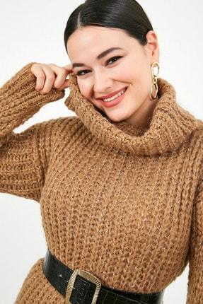 Sateen Kadın Vizon Balıkçı Yaka Örme Triko Elbise  STN503KTR133 1