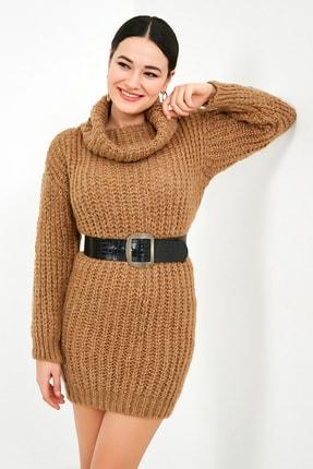 Sateen Kadın Vizon Balıkçı Yaka Örme Triko Elbise  STN503KTR133 2