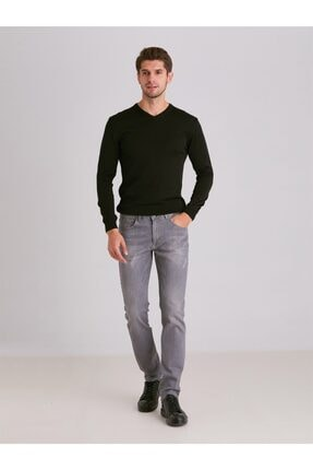 Dufy Erkek Gri Düz  Slim Fit Kot Pantolon - 2