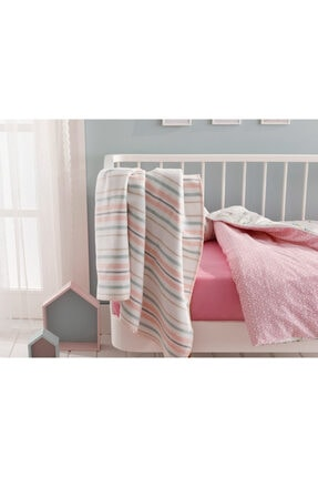 English Home Softy Stripe Pamuklu Bebe Battaniye 100x120 Cm Pembe 1