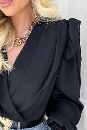 BLACK&GRACE Kadın Siyah Vatkalı Saten Krep Kolları Gipeli Gömlek 1