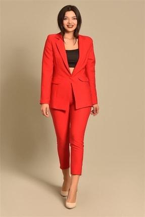 Modakapimda Kadın Kırmızı Ceket Pantolon Takım 1