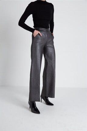 FRACOMINA Parlak Görünümlü, Yüksek Bel Siyah Pantolon 0