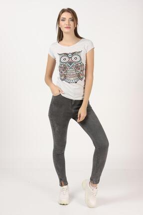 Tena Moda Kadın Kar Melanj Baykuş Baskılı Tişört 3