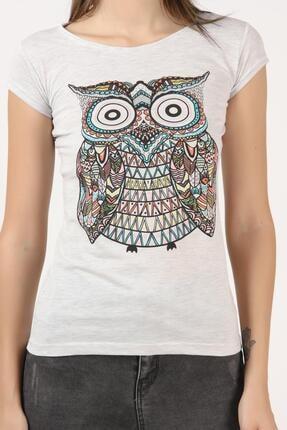 Tena Moda Kadın Kar Melanj Baykuş Baskılı Tişört 4
