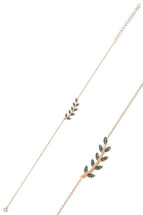 Söğütlü Silver Gümüş Rose Yeşil Taşlı Yaprak Bileklik 0