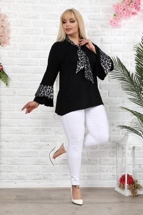 1fazlası Siyah Leopar Desenli Saten Şallı Ispanyol Kol Bluz 3