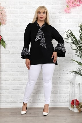 1fazlası Siyah Leopar Desenli Saten Şallı Ispanyol Kol Bluz 4