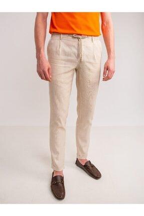 تصویر از Bej Melanj Keten Karışımlı Rahat Nefes Alabilen Erkek Pantolon - Modern Fit