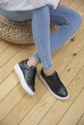Straswans Papel Bayan Deri Spor Ayakkabı Siyah 1