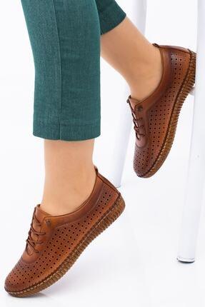Hoba Kadın Kahverengi Delikli Bağcıklı Hakiki Deri Ayakkabı 3