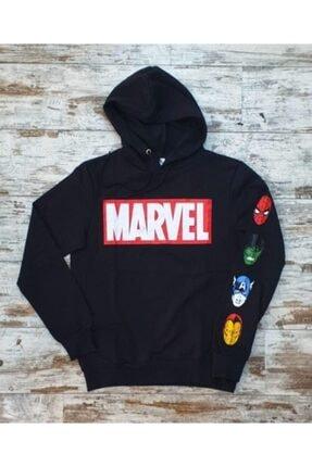 Built By Crazy Unisex Marvel Avengers Siyah Sweatshirt Kapüşonlu 0