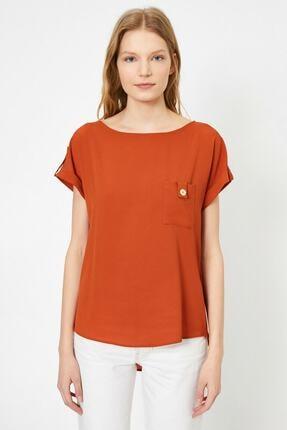 Koton Kadın Tarçın Rengi Kisa Kollu Cep Detayli Bluz 2