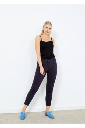 Adze Kadın Lacivert Klasik Kesim Dar Paça Pantalon Laci 44 1