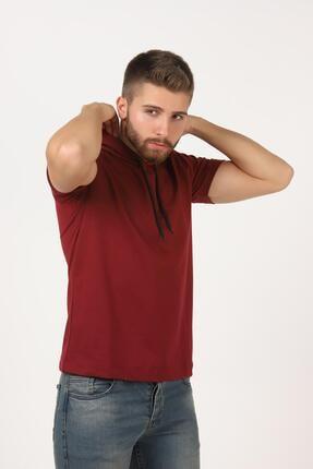 Tena Moda Erkek Bordo Kısa Kollu Kapşonlu Basic Tişört 2