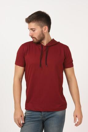 Tena Moda Erkek Bordo Kısa Kollu Kapşonlu Basic Tişört 3